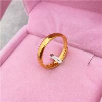 越南沙金光面情侣款戒指仿真黄金男女镀金欧币指环不掉色简约尾戒