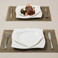 【当当自营】SKYTOP斯凯绨 陶瓷骨瓷西餐盘不锈钢刀叉8件套装 白瓷昆仑形