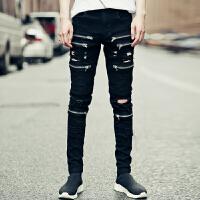 新款潮男士韩版修身小脚牛仔长裤男裤子个性破洞褶皱多拉链秋款夜