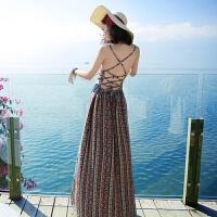 201804030508072夏季新品女装无袖露背吊带雪纺连衣裙波西米亚长裙海边度假沙滩裙 图片色 XZD119