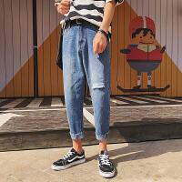 夏季男士破洞牛仔裤韩版潮流破洞裤个性休闲裤学生宽松乞丐裤