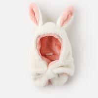 宝宝帽子秋冬男童围巾女童围脖一体婴儿帽子秋儿童护耳帽新生儿帽
