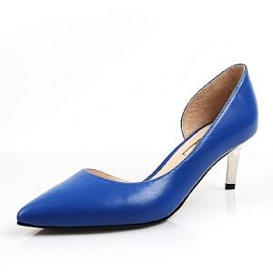 Belle/百丽春季专柜同款胎牛皮革OL通勤侧空细跟女凉鞋BGA35AK6 高跟鞋