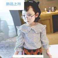 儿童t恤女童上衣春秋2018新款1-3-6岁小童装荷叶领娃娃衫宝宝体恤
