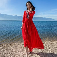 民族风长裙春夏季红色度假沙滩裙子女中长款七分袖棉麻连衣裙显瘦 红色