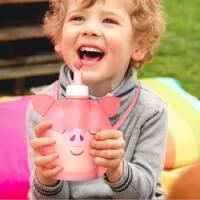 猪年猪猪水壶水杯背带水杯小猪水袋儿童硅胶水杯斜挎背带韩国喝水杯饮水袋折叠轻便