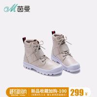 茵曼女鞋2018年新款秋鞋简约时尚平底靴绑带保暖马丁靴4883040112