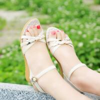 夏季休闲女式凉鞋厚底坡跟沙滩鞋学生凉鞋露趾透气鞋