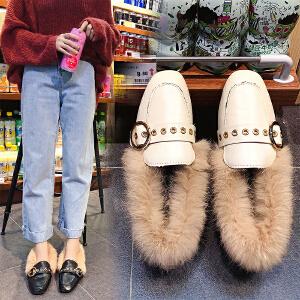 毛毛鞋女单鞋女小白鞋女豆豆鞋女冬2018新款韩版百搭乐福鞋加绒豆豆鞋英伦风方头低跟316DTH