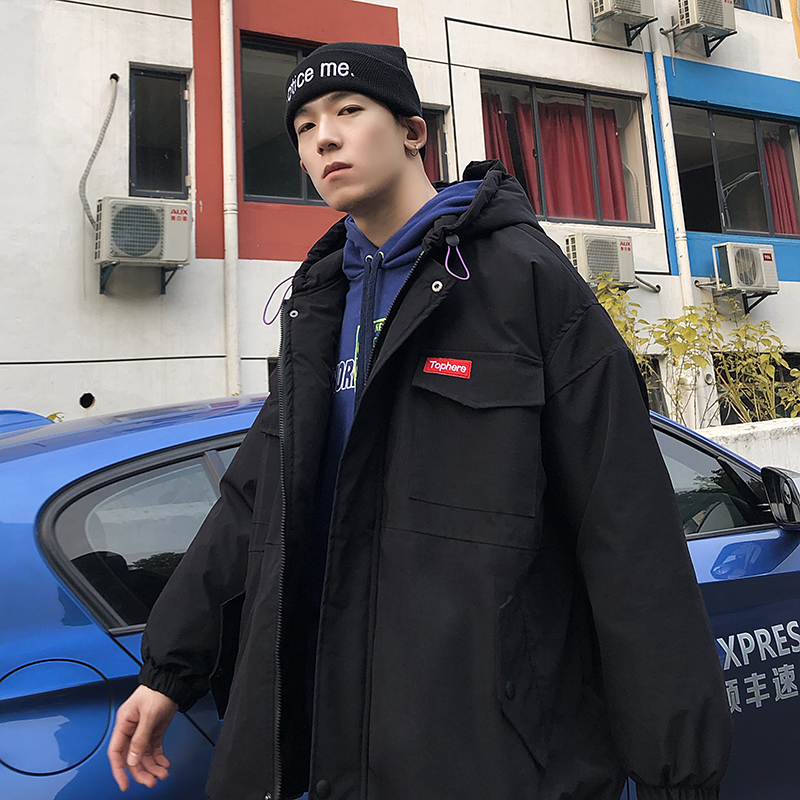 男士冬季棉衣新款韩版潮流帅气加厚冬装棉袄宽松连帽棉服外套
