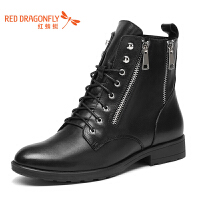 红蜻蜓女靴冬季粗跟低跟马丁靴女系带拉链加绒短靴女