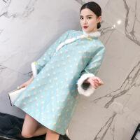 旗袍冬款加厚少女款加厚中式女装少女复古改良唐装棉袄甜美中国风连衣裙 浅蓝色