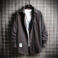 新款条纹男长袖衬衫潮流韩版帅气大码衬衣男式秋装寸衣外套