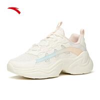 【满299-60】安踏老爹鞋女鞋2021夏新款复古休闲网面厚底透气运动鞋122128885