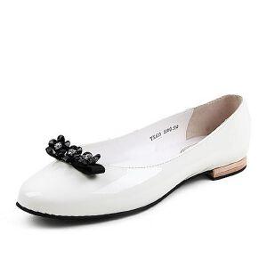BASTO/百思图春季专柜同款牛皮浅口蝴蝶结休闲女单鞋TX620AQ6