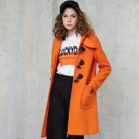 冬装新品 学院风连帽呢大衣羊毛呢子保暖外套女