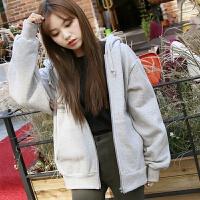 天天加绒卫衣女连帽外套冬季韩版学生运动开衫BF拉链上衣加厚