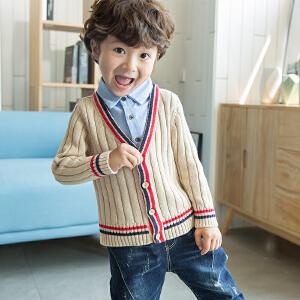 【尾品汇 满100减50】帕丁猫童装2018秋冬新款假二件衬衫毛衣针织衫