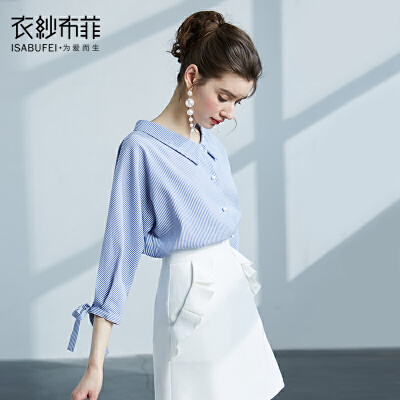 韩风蓝条纹宽松衬衫女韩范2018新款上衣港味小清新衬衣