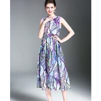 夏季新品高端雪纺印花无袖松紧腰连衣裙明星同款礼服长裙