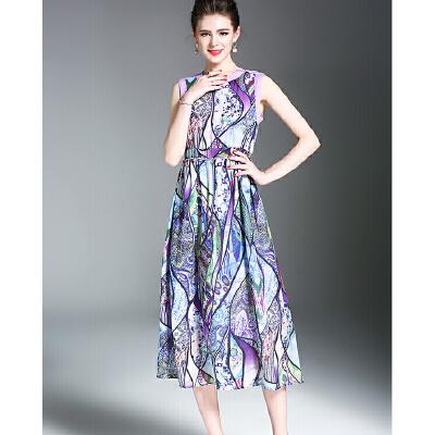 夏季新品高端雪纺印花无袖松紧腰连衣裙明星同款礼服长裙 发货周期:一般在付款后2-90天左右发货,具体发货时间请以与客服商的时间为准