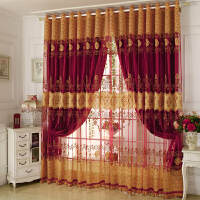 窗帘成品现代简约卧室欧式纱帘客厅落地公主风遮光布