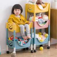 儿童玩具塑料收纳架落地多层收纳箱整理架带轮书架零食分层置物架