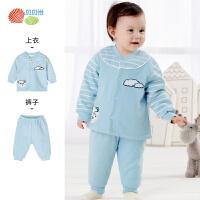 贝贝怡婴儿衣服冬保暖内衣家居服加厚两件套宝宝睡衣套装秋衣秋裤