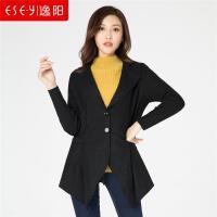 逸阳2018秋季新款收腰气质羊毛中长款薄毛呢子外套上衣女装0591