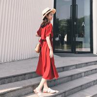 2019沙滩裙女三亚旅游马尔代夫海边度假长裙泰国红色连衣裙 红色