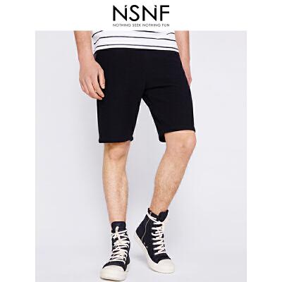 NSNF双色针织黑色男士短裤 休闲裤 2017年新款男士休闲裤  潮牌男裤 当当自营 高品质设计师潮牌