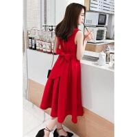 时尚红色连衣裙2018新款女装春装沙滩裙雪纺裙子中长款显瘦背带裙无袖打底裙美裙 红色