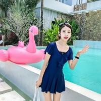泳衣女连体平角遮肚显瘦保守裙式大码聚拢性感韩国温泉学生纯黑色