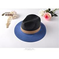 出游草帽 拼色太阳帽男女士沙滩度假遮阳爵士帽情侣海帽 蓝色 可调节