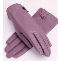 秋冬加厚羊毛保暖手套新显瘦PU皮超柔绒里