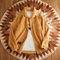 新款灯芯绒复古潮流衬衫潮青年翻领外套