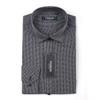 Youngor/雅戈尔秋款男士商务纯棉黑色长袖衬衫修身软领XX14372-01
