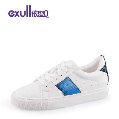 依思Q休闲鞋女时尚星星拼接平底鞋休闲鞋潮流小白鞋