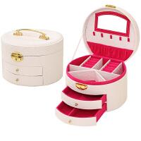 圆形首饰盒 欧式公主皮质带锁 手镯收纳饰品盒 闺蜜生日结婚礼物