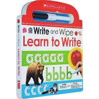 英文原版 Learn to Write 幼儿字母学习 练习 图画书 内附黑色笔