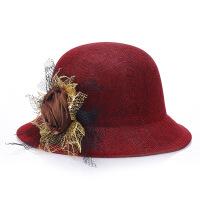 女士帽子夏季百搭韩版潮时尚英伦圆顶盆帽春秋中老年亚麻礼帽妈妈 M(56-58cm)