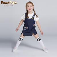 【3件4折 到手价:239】Pawinpaw卡通小熊童装夏季女童字母刺绣背带裙