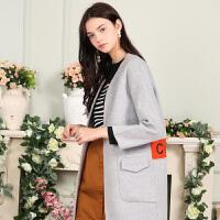 秋装新品宽松绣花双面呢长大衣羊毛外套X632193D10