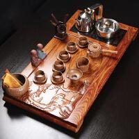 功夫茶具整套装家用粗陶简约创意复古实花梨木茶盘组合陶瓷泡茶壶