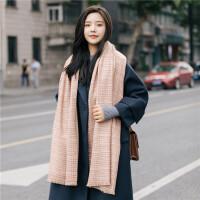 围巾女秋冬季小清新英伦经典格子披肩条纹长款加厚保暖仿羊绒韩国