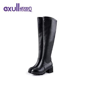 依思q冬季新款英伦厚底粗跟长靴子