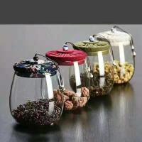 汉馨堂 茶叶罐 耐高温透明玻璃罐布盖家用糖果花茶罐