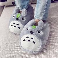 冬季龙猫棉拖鞋男情侣居家包跟保暖棉鞋全包毛绒