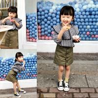 女童上衣2018春装新款 韩版格子长袖公主翻领圆领纯棉休闲娃娃衫