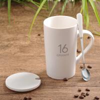 带盖勺咖啡杯牛奶杯陶瓷杯子水杯马克杯简约情侣杯